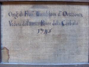 inscription au dos du tableau avant rentoilage