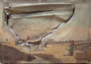 avant restauration, le tableau est très déchiré et la toile déformée