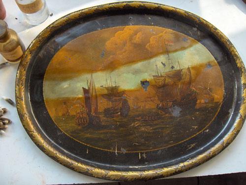 un plateau napoleon iii restaur michelle boucard restauration de tableaux et papiers anciens. Black Bedroom Furniture Sets. Home Design Ideas